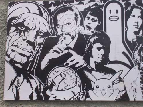 Mural expuesto en la calle Bailen, San Francisco, Bilbao